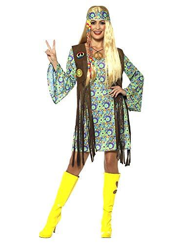 shoperama 60s Hippie Chick Damen-Kostüm Kleid Fransen-Weste Stirnband Kette 70er Jahre Seventies Sixties Flower Power Festival, Größe:M
