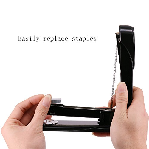 EWO'S New stapler with staples, long arm stapler with 1000 staples 50 sheets print papers-black Photo #4