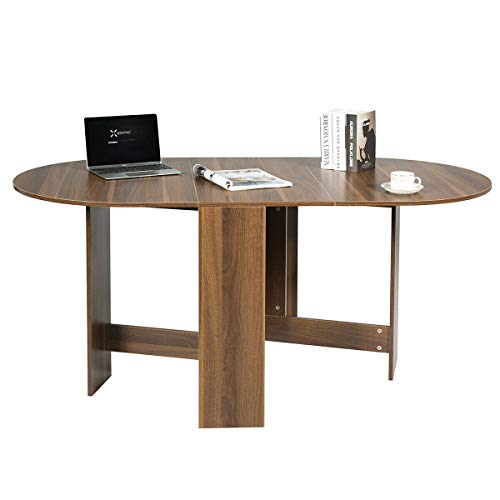 Giantex Folding Dining Table, Drop Leaf Kitchen Table with Round Edges, Space Saver and Compact Wood Accent Home Furniture for Dining Room