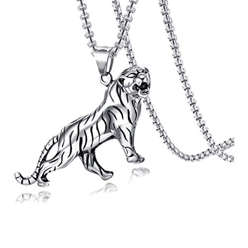 Xusamss Hip Hop Stainless Steel Tiger Pendant 24' Square Box Chain Necklace(White)
