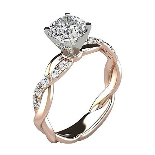 WanBeauty - Anillo de dedo para mujer, circonio cúbico con incrustaciones de torsión, boda, compromiso, joyas de regalo, anillos para mujeres y niñas, oro rosa