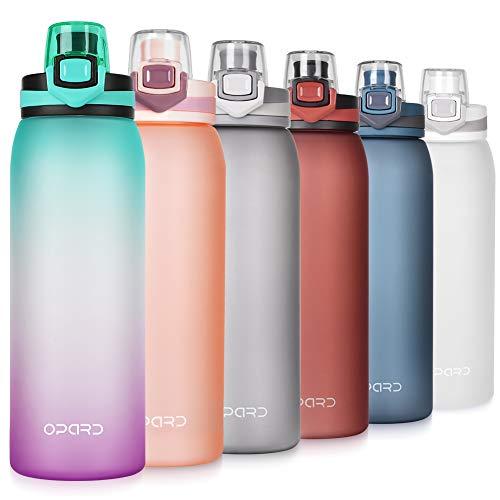 Opard Trinkflasche Sport 900ml -Wasserflasche aus Tritan BPA-Frei, Auslaufsicher Sportflasche für Kinder, Sport, Fitness, Fahrrad, Fußball, Outdoor (Grün/Lila Farbverlauf)