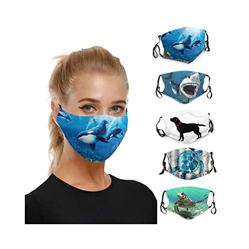 Blingko 5pcs Waschbar Mundschutz Lustiger Tiergedruckter Atmungsaktiver Wiederverwendbarer Multifunktionstuch Motorrad Winddicht Reusable Face Cover Sommerschal (Q)