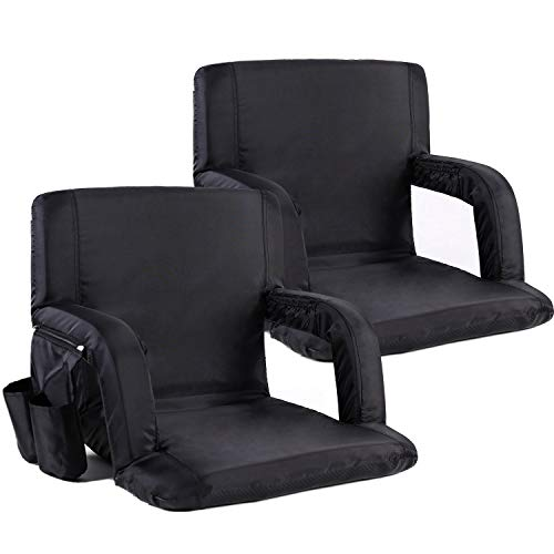 Portable Stadium Seat Chair, Sportneer Reclining Seat for Bleachers with Padded Cushion Shoulder Straps, Black, 2 Pack
