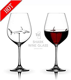 Italian Red Wine Glasses - Shark Wine Glasses with Shark Inside for Adults,Creative Goblet Glass,Lead-Free Crystal Clear Wine Glasses,High-end Flutes Glass Perfect for Homes/Bars/Party-Set of -1 2 4 6