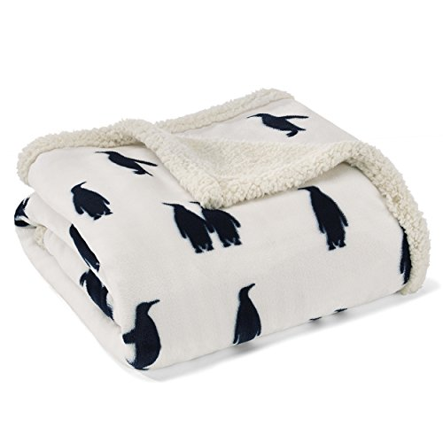 Eddie Bauer | Ultra-Plush Collection | Throw Blanket-Reversible Sherpa Fleece Cover, Soft & Cozy, Perfect for Bed or Couch, Emperor Penguin