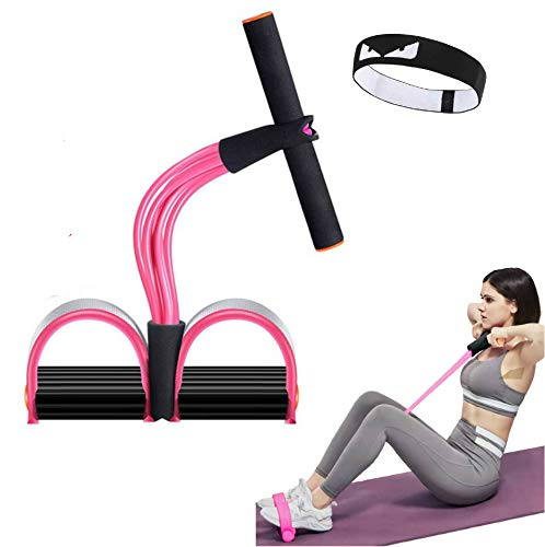 calliven Multifunction 6-Tube Elastic Yoga Pedal Puller Resistance Band, Natural Latex Tension Rope Fitness, for Abdomen Waist Arm Leg Stretching Slimming Training (Pink)