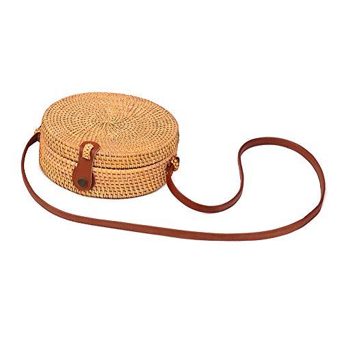 Huaduo Bolso de mano de ratán, redondo, tejido de paja para el verano, pequeño bolso de playa para mujer, bolso hueco hecho a mano para mujeres, vacaciones en el mar, ropa a juego