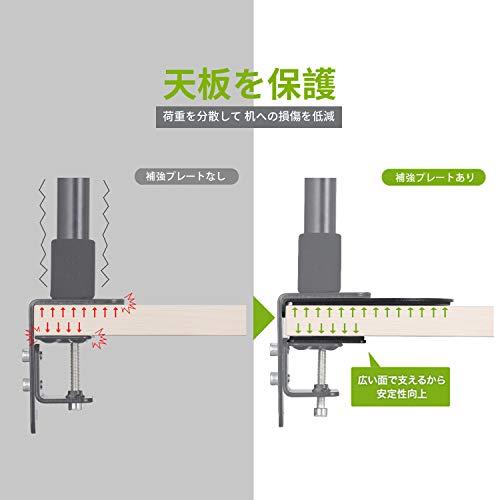 『ZepSon モニターアーム補強プレート 取付部硬さ強化対策 デスク保護 傷防止 滑り止めシート付き (黒色)』の3枚目の画像