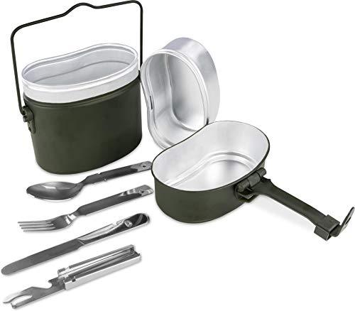 normani Bundeswehr Essgeschirr Set Essbesteck Bund BW Alu Kochgeschirr Camping-Geschirr Besteck Edelstahl Kompaktes Reisebesteck