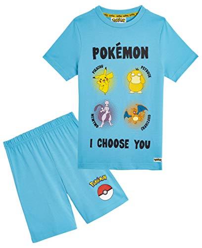 Pokemon Schlafanzug Jungen, Kinder Pyjama Kurz Aus 100% Baumwolle, Zweiteiliger Schlafanzug Mädchen Set, Sommer Nachtwäsche Zwischen 4 und 14 Jahre, Kinder Geschenke (Hellblau, 9-10 Jahre)