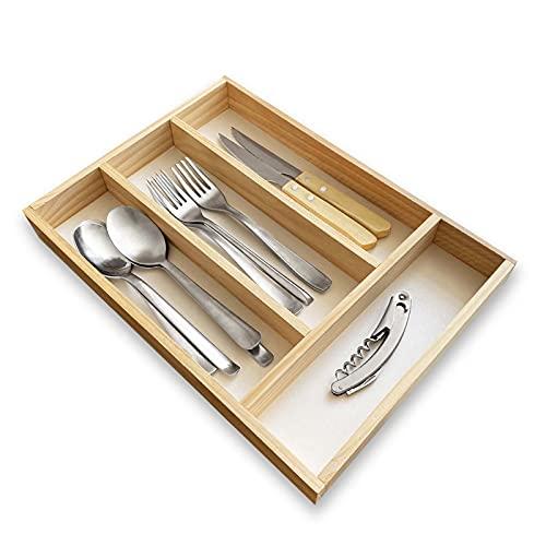 Organizador cubiertos para cajon de madera, cubertero para cajon, bandeja de cubiertos compacta para utensilios de cocina.