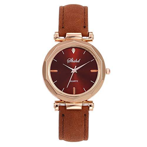 Puwind Reloj analógico de cuarzo analógico para mujer, correa de gamuza y lente de cristal, reloj de pulsera para novia, madre, color marrón