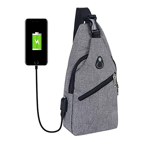 flintronic Sacoche Homme Bandouliere, Sac à Poitrine avec Chargement USB et Port pour Écouteurs, Sac à Dos de Voyage pour Homme & Femme (Comprend 1 Câble USB + 1 Crochet d'escalade)