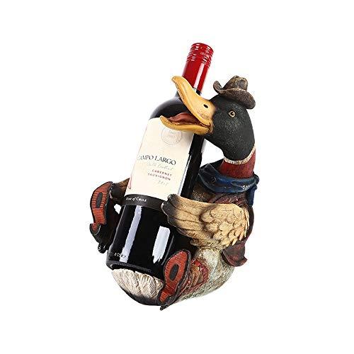 QINJLI Wooden Duck Rack controsoffitto Vino, Mano-intagliata Ugly Duckling Rack Bottiglia di Vino, Cafe Bar e Decorazione Domestica