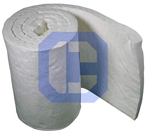 "Ceramic Fiber Insulation Baffle Fire Blanket (8# Density, 2300°F)(1""x24""x25') for Wood Stoves, Pizza Ovens, Kilns, Forges"