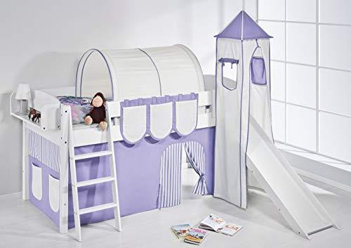 Lilokids Spielbett IDA 4105 Lila Beige-Teilbares Systemhochbett weiß-mit Turm, Rutsche und Vorhang Kinderbett, Holz, 208 x 220 x 185 cm