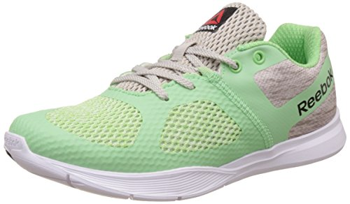Reebok Women's Cardio Workout Sand Stone, Green, Blk and Wht Dance Shoes