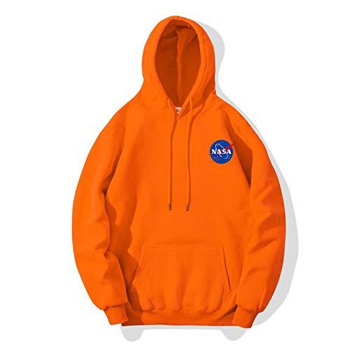LLGHT NASA Carta de impresión Pareja de algodón Puro All-Match Sweater con Capucha cómodo Casual Casual de Manga Larga para Hombres Sueltos Suéter (Color : Orange, Size : X-Large)