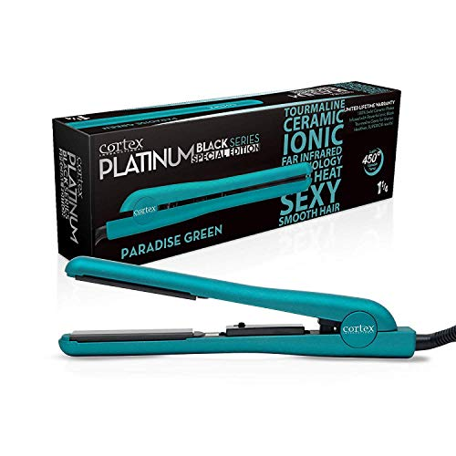 Cortex International Hair Straightener Flat Iron Professional Black Series Gemstone Infused Tourmaline Ceramic Plates 1.25 Inch Green