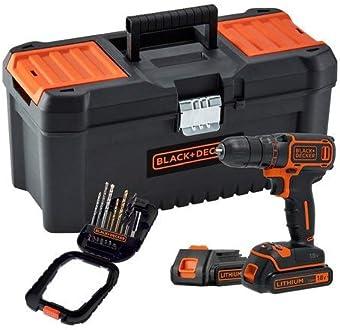 Livr/ée en organisateur 2 Batteries 20 250 cps//min 2 vitesses BLACK+DECKER BDC718AS2O-QW Perceuse-Visseuse sans fil 18V 80 accessoires
