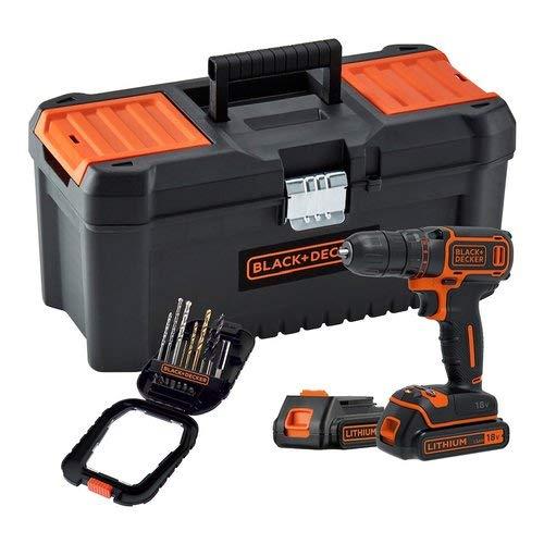 Black + Decker BDCDC18BTA-QW - Taladro inalámbrico (650 rpm, 2 baterías, 16 accesorios, incluye caja de herramientas, 18 V)