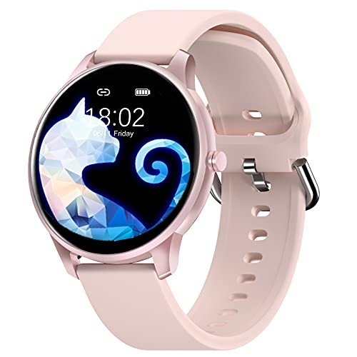 Smart Watch Compatible iPhone Samsung for Android Phones, CUBOT W03 IP68 Waterproof Watches for Men Women Fitness Tracker Smartwatch Heart Rate Monitor Pedometer Sleep Monitor (Pink)