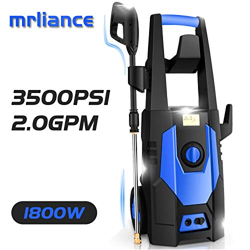 mrliance 3500PSI Electric Pressure Washer, 2.0GPM Electric Power Washer High Pressure Washer with Spray Gun, Brush, and 4 Quick-Connect Spray Tip (Blue)