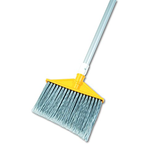 Rubbermaid Commercial Angle Broom, Metal Handle, Flagged Polypropylene Fill, Gray (FG638500GRAY)