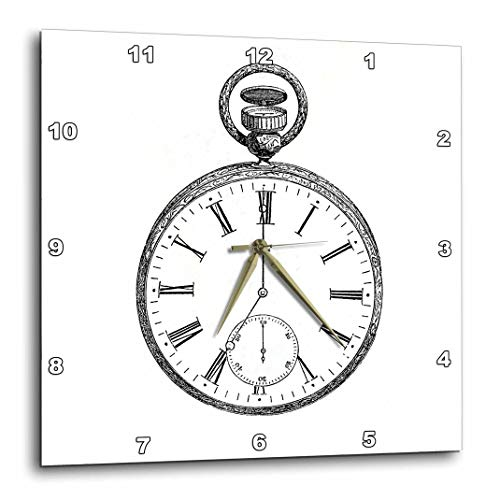 3dRose dpp_161555_1 ブラック&ホワイト ビンテージ 懐中時計 スチームパンク オールドファッション ビクトリアン 懐中時計 図面 プリント 壁掛け時計 10×10インチ