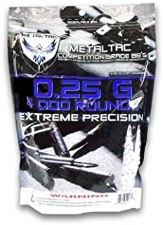 MetalTac Airsoft BBs .25g Perfect Grade High Precision 6mm BB Pellets (Bag of 4000 Rounds)