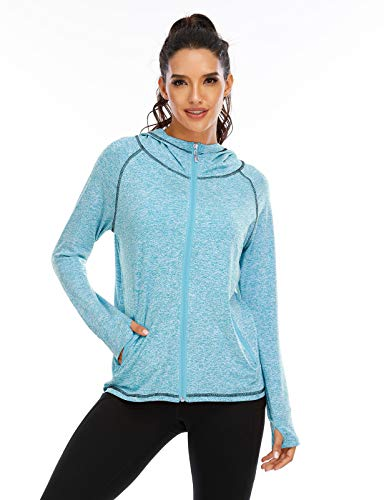Koscacy Running Shirts Women ,Sport Hoodies Ladies Zipper Up Sweatshirts Long Sleeve Fall Clothes Workout Fitness Athletic Hoodie Soft Comfy Breathable Train Top with Thumb Holes Blue Large