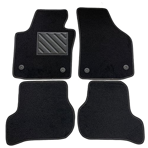 Alfombrillas para Seat Leon II 2005-2012, a medida, talonera de goma reforzada y botones de fijación