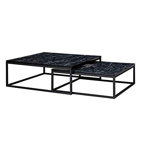 FineBuy Design Couchtisch 2er Set Schwarz Marmor Optik Eckig | Couchtische 2-teilig Tischgestell Metall | Edle Wohnzimmertische | Moderne Satztische