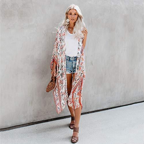 YYH Dames Cardigan Summer Floral Kimono Cardigan Casual Tops van chiffon Strand Tops Bluse Plus Size XL Wit