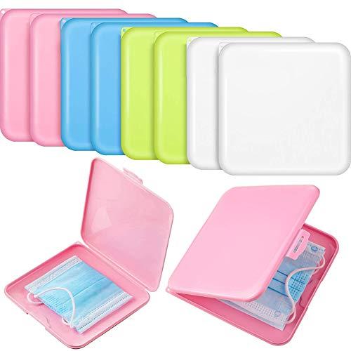 JPYH Masken-Aufbewahrungsbox, 8-teilige tragbare Aufbewahrungshülle für Maske, Wiederverwendbare Aufbewahrungsmappe für Kunststoffabdeckungen, Faltbare Aufbewahrungsbox für Aufbewahrungsclips