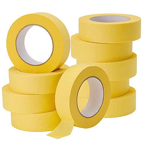 Lichamp 10-Pack Automotive Refinish Masking Tape Yellow 36mm x 55m, Cars Vehicles Auto Body Paint Tape, Automotive Painters Tape Bulk Set 1.4-inch x 180-foot x 10 Rolls (600 Total Yards)