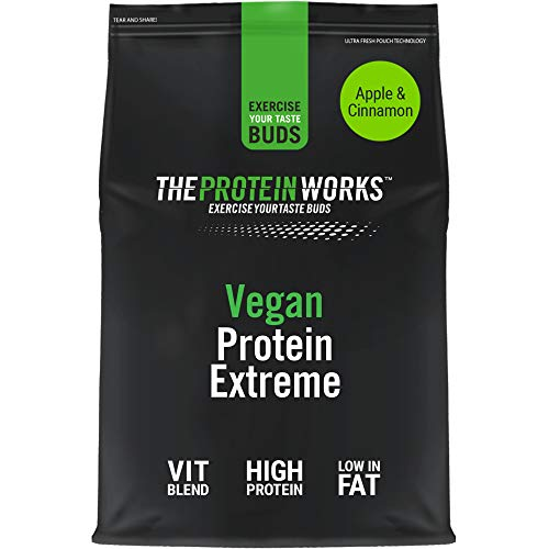 Vegan Extreme Protein Powder | 100% Plant-Based & Natural | Gluten-Free | Zero Cruelty | Low Fat Shake | THE PROTEIN WORKS | Apple & Cinnamon | 1 kg