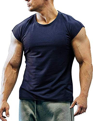 COOFANDY Camiseta de manga corta para hombre, para culturismo, azul marino, L