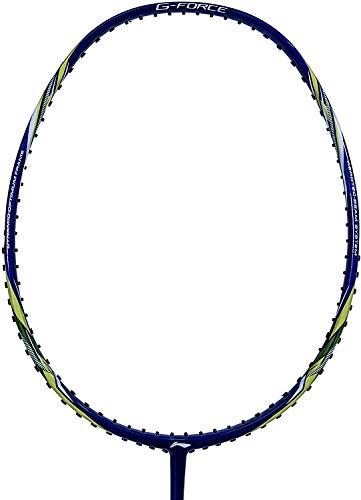 LI-NING Badmintonschläger G-Force Series Player Edition Leichter Carbon Graphit Schaft 78 + GMS mit Tragetasche, Lite120 Navy