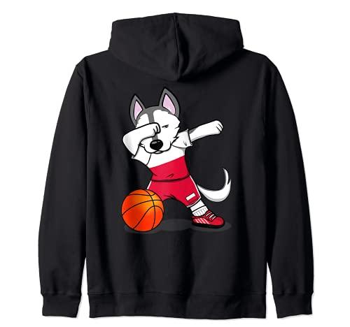 面白いハスキー犬ポーランドバスケットボールファン-ポーランドの旗スポーツ愛好家 Poland Basketball ジップパーカー