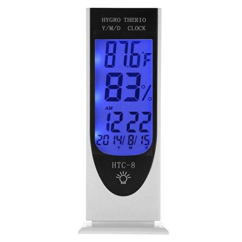 Boutique de Hanks Réveil, HTC-8 Lumineux LCD LED Lumière De Nuit Thermomètre Rétro-éclairage Hygromètre Hygromètre, Alarme/Date/Horloge/Calendrier avec