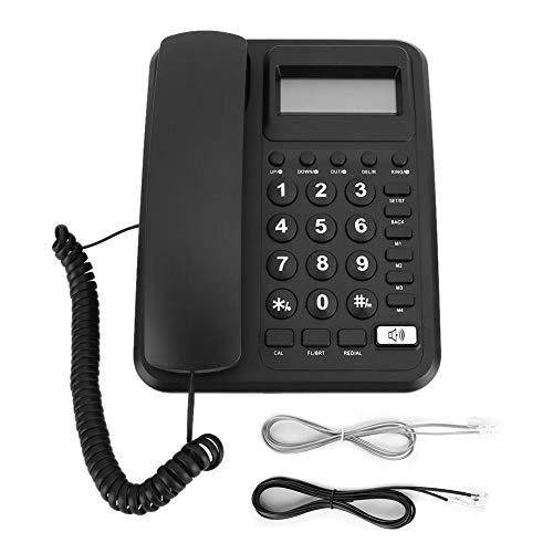 Teléfono con Cable, KX-T2023 Teléfono Fijo con Cable Teléfono de Oficina en casa Hotel Teléfono Fijo con Pantalla de identificación de Llamadas(Negro)