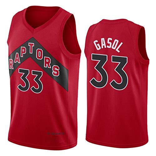KJX Raptors 33# Jersey para Hombre, 2021 Nueva Temporada Gasol Red City Edition Basketball Jersey, Tops de Baloncesto Transpirable Chaleco de Moda (S-XXL) XL
