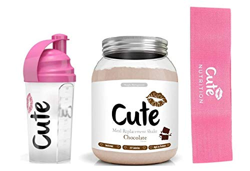 Cute Nutrition Diet Bundle Weight Loss Control (Cioccolato + Shaker + Banda Di Resistenza)
