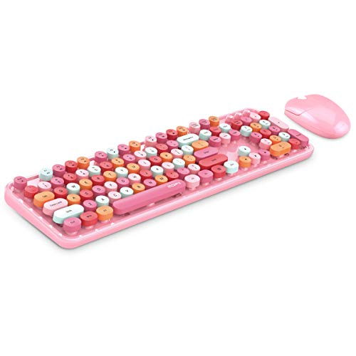 Wireless Keyboard and Mouse Combo, Pink Wireless Keyboard, 2.4GHz Retro Full Size with Number Pad & Cute Wireless Mouse for Computer PC Laptop Notebook Mac Windows XP/7/8/10 (Pink-Colorful)