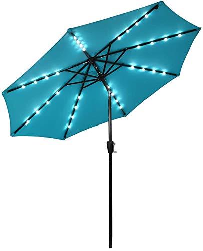 YRRA 9FT Patio Solar Paraguas 32 LED Mesa Market Umbrella W/Pulso Tilt Tilt & by Bank 8 Costillas Resistentes y Polo de Metal Reforzado Paraguas al Aire Libre para el Patio Trasero-Turquesa