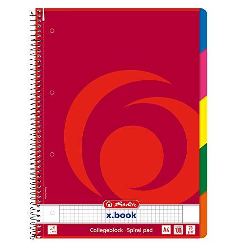 Herlitz - Quaderno con spirale, a quadretti, con 5 divisori colorati, formato A4, 100 fogli, confezione da 3 pezzi
