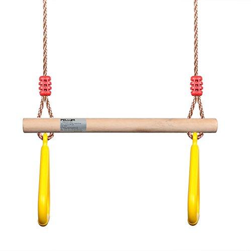 PELLOR Multifunktions -Kinderholz Trapeze Schaukel mit Kunststoff-Ringe (Gelb)