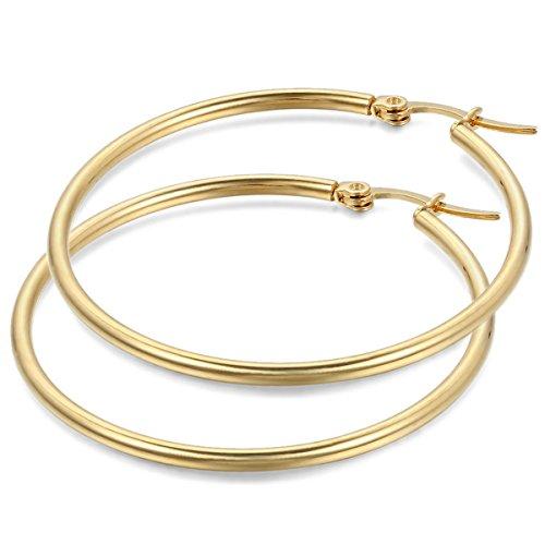 JewelryWe Pendientes de Aros Grande Circulos Huggies, Acero Inoxidable Pendientes de Mujer Dorados, Retro Vintage Pendientes Grandes Diseño Elegante 44mm